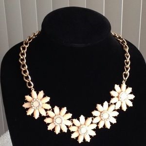 Vintage Peach Flowers Gold Tone Necklace